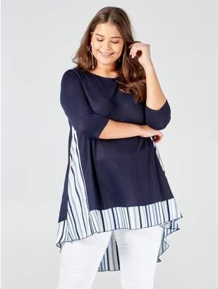 M&Co Blue Vanilla Curve stripes split back top
