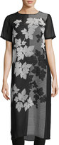 Vince Camuto Short-Sleeve Floral-Print Tunic, Black/White