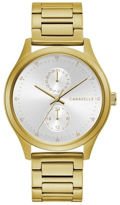 Caravelle by Bulova Mens 44C111 Gold-Tone Stainless Multifunction Bracelet Watch