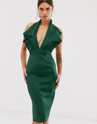 Asos Design DESIGN halter origami side zip pencil midi dress-Green