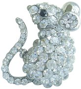 """Sindary Jewelry Sindary 1.97"""" Silver-tone Clear Rhinestone Crystal Mouse Brooch Pin"""
