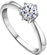 Acme Sterling Silver Princess Cut Crystals Accent Love Forever Eternity Engagement Wedding Ring For Women