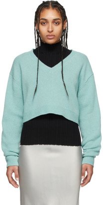Acne Studios Blue Wool Cropped V-Neck Sweater