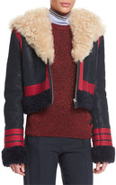 Cédric Charlier Shearling Fur-Trimmed Leather Jacket, Red/Navy