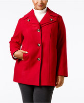 London Fog Plus Size Single-Breasted Peacoat