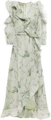 Costarellos Wrap-effect Cold-shoulder Floral-print Organza Maxi Dress