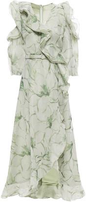 Costarellos Wrap-effect Cold-shoulder Floral-print Organza Midi Dress