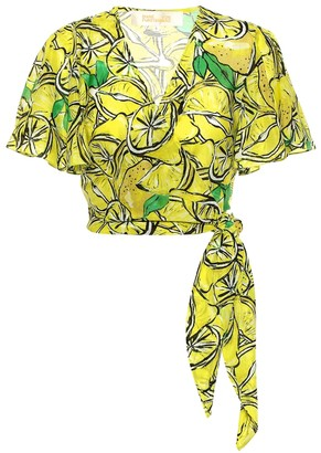 Diane von Furstenberg Hailey printed cotton and silk top