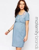 Mama Licious Mama.licious Mamalicious Denim Shift Dress With Embroidery