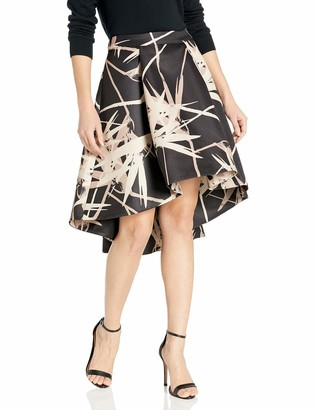 Halston Women's Hi-Lo Printed Structure Skirt