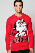 boohoo Yo! Ho! Ho! Christmas Jumper red