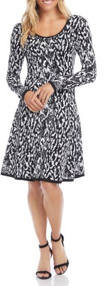 Karen Kane Jacquard Long Sleeve Fit & Flare Dress