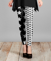 Lily Black & Gray Star Slim-Fit Pants - Plus Too