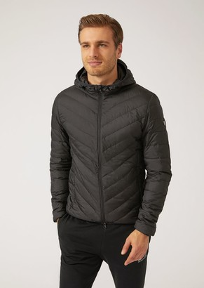 Emporio Armani Down Jacket With Hood In Tech Fabric