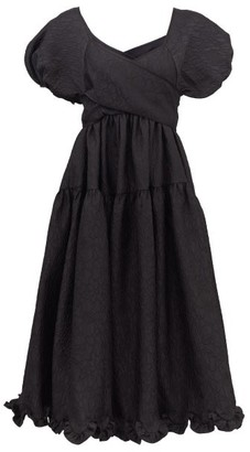 Cecilie Bahnsen Ammi Floral-cloque Midi Dress - Black