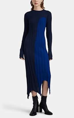 Woolmark Colovos X Prize Women's Colorblocked Rib-Knit Merino Wool Dress - Blue