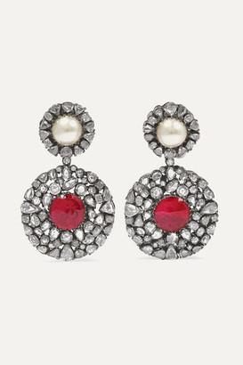 Amrapali Rhodium-plated Multi-stone Earrings - Silver