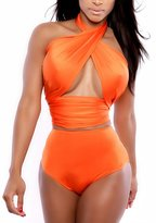 AuntTaylor Ladies Two-Piece Halter Neck Backless Hollow Out Monokini XL