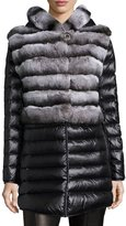 Gorski Rabbit Fur Stroller Coat w/ Removable Down Skirt & Sleeves, Charcoal