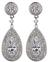 Nadri Prong Set Pear CZ Triple Halo Drop Earrings