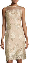Donna Ricco Lace-Embroidered Mesh-Overlay Dress, Gold