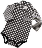 Temptation Spring/Autumn [Checker] Baby Kids Boys' Girls' Siamese Triangle Tlags Romper