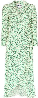 Ganni Leaf-Print Crepe Wrap Midi Dress