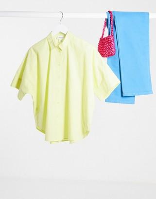 Monki Luca poplin oversize boxy shirt in yellow