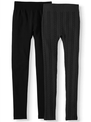 Time and Tru Women's 1 cable Knit and 1 plain Legging, 2-Pack