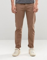 Asos Stretch Slim Jeans In Light Brown