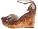 Saint Laurent Patent Leather Peep-Toe Wedges