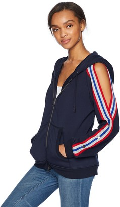 Pam & Gela Women's Cold Shoulder Zip Hoodie W/Sport Stripes