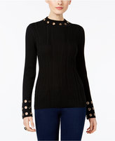 INC International Concepts Grommet-Trim Mock-Neck Sweater, Only at Macy's