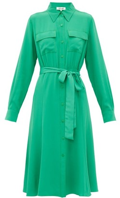 Diane von Furstenberg Antonette Silk-crepe Shirtdress - Womens - Green