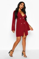 boohoo Woven Double Breasted Split Sleeve Blazer Dress