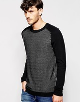 Antony Morato Knitted Pattern Jumper With Contrast Sleeves - Black