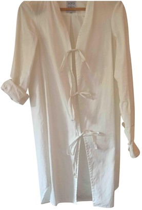 Sara Roka White Cotton Dress for Women