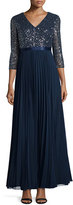 Kay Unger New York 3/4-Sleeve Sequined Combo Gown