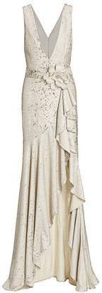 Badgley Mischka Sequin Floral-Belt Gown