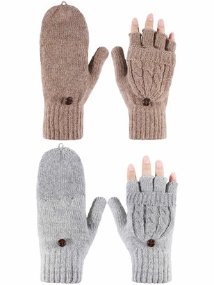Tatuo 2 Pairs Women Fingerless Mittens Winter Convertible Gloves Knitted Half Finger Gloves with Cover (Grey and Khaki)