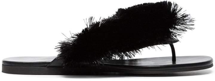 Marco De Vincenzo Black Fringe Leather Sandals