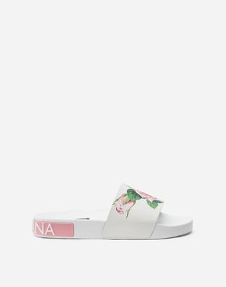 Dolce & Gabbana Tropical Rose Print Rubber Beachwear Sliders