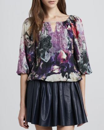 Alice + Olivia Tama Crystal-Print Blouse