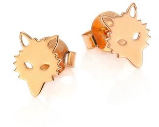 ginette_ny Wolf 18K Rose Gold Stud Earrings