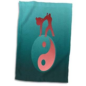 "Yin & Yang 3D Rose Karate Yin yang Sign with Men Training Aqua Green and Coral TWL_180807_1 Towel 15"" x 22"" Aquagreen"