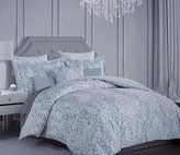 Nicole Miller Bedding 3 Piece Cotton Full / Queen Duvet Cover Set White Floral Scroll Pattern on a Light Blue / Gray Background