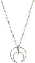 Sterling Silver & 1.14 Total Ct. Champagne Diamond Cut Out Tusk Pendant Necklace