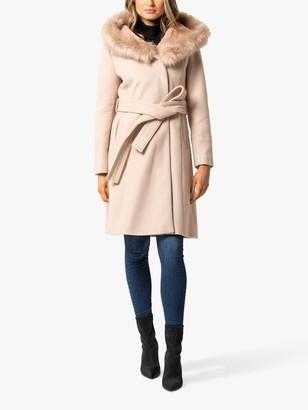 Forever New Bianca Faux Fur Trim Hood Wrap Coat, Soft Oatmeal