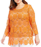 Multiples Plus Scoop Neck 3/4 Sleeve Solid Lace Tunic