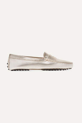 Tod's Gommino Embossed Metallic Leather Loafers - Gold